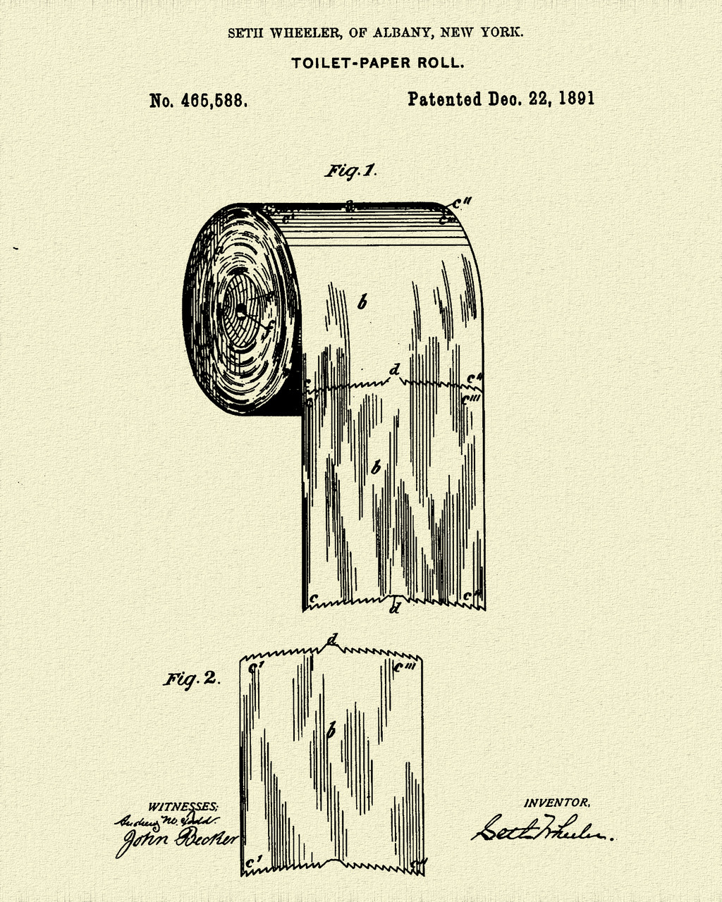 Toilet Paper Patent Print Dye Sublimation & Heat Infused Pressed Wall Art 8.5 Inches by 11 Inches