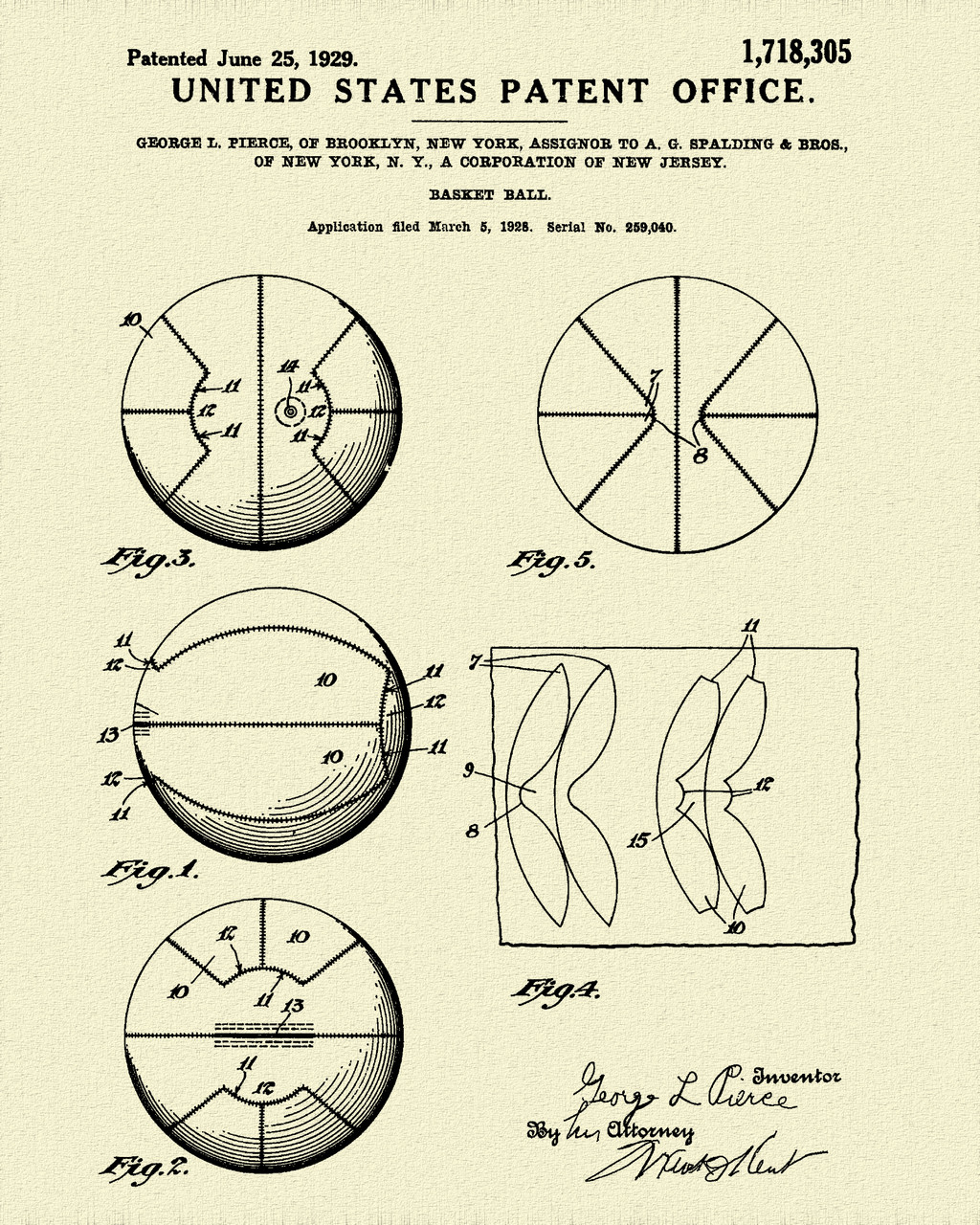 Spalding Basket Ball Patent Print Dye Sublimation & Heat Infused Pressed Wall Art 8.5 Inches by 11 Inches