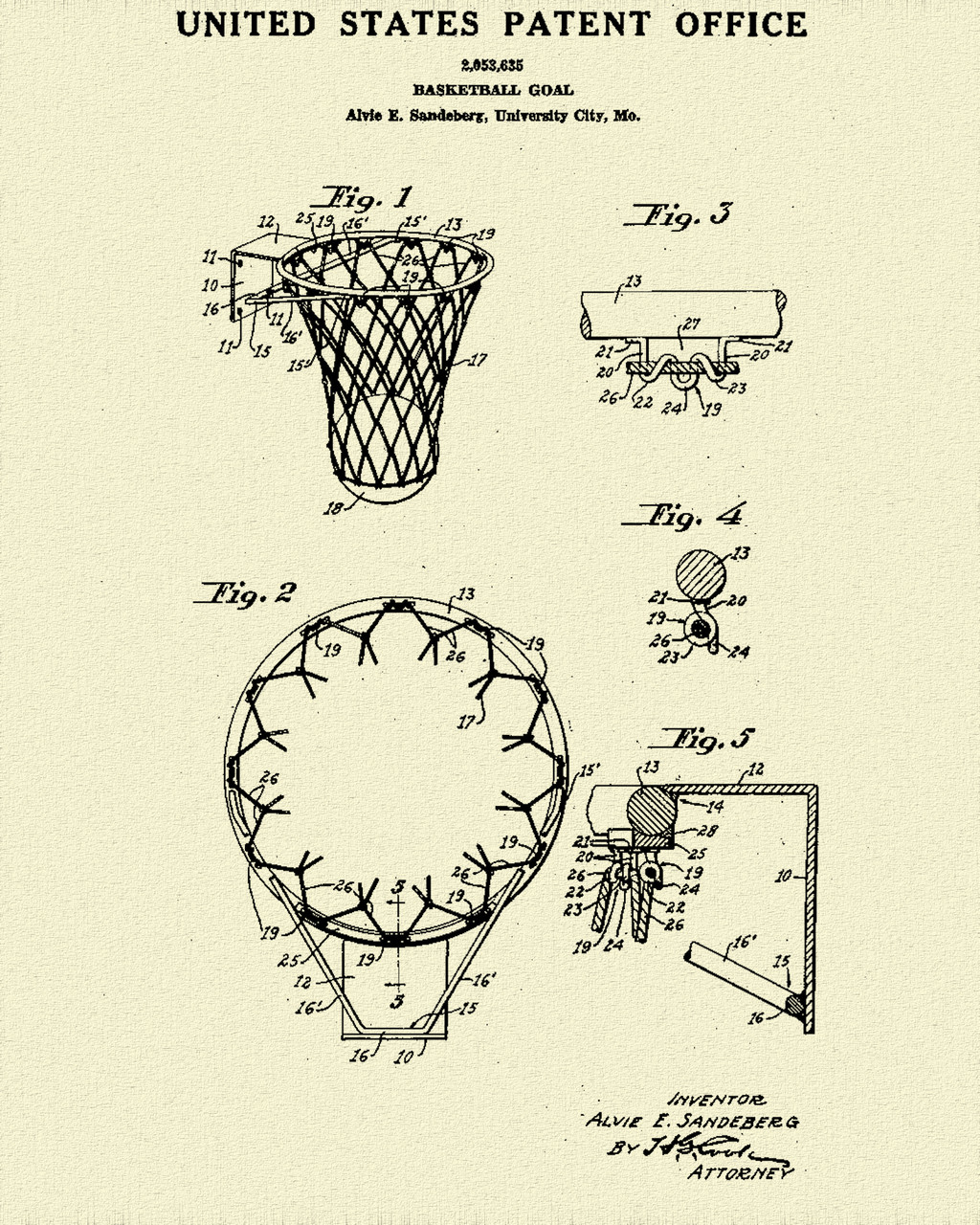 Basketball Hoop Patent Print Dye Sublimation & Heat Infused Pressed Wall Art 8.5 Inches by 11 Inches