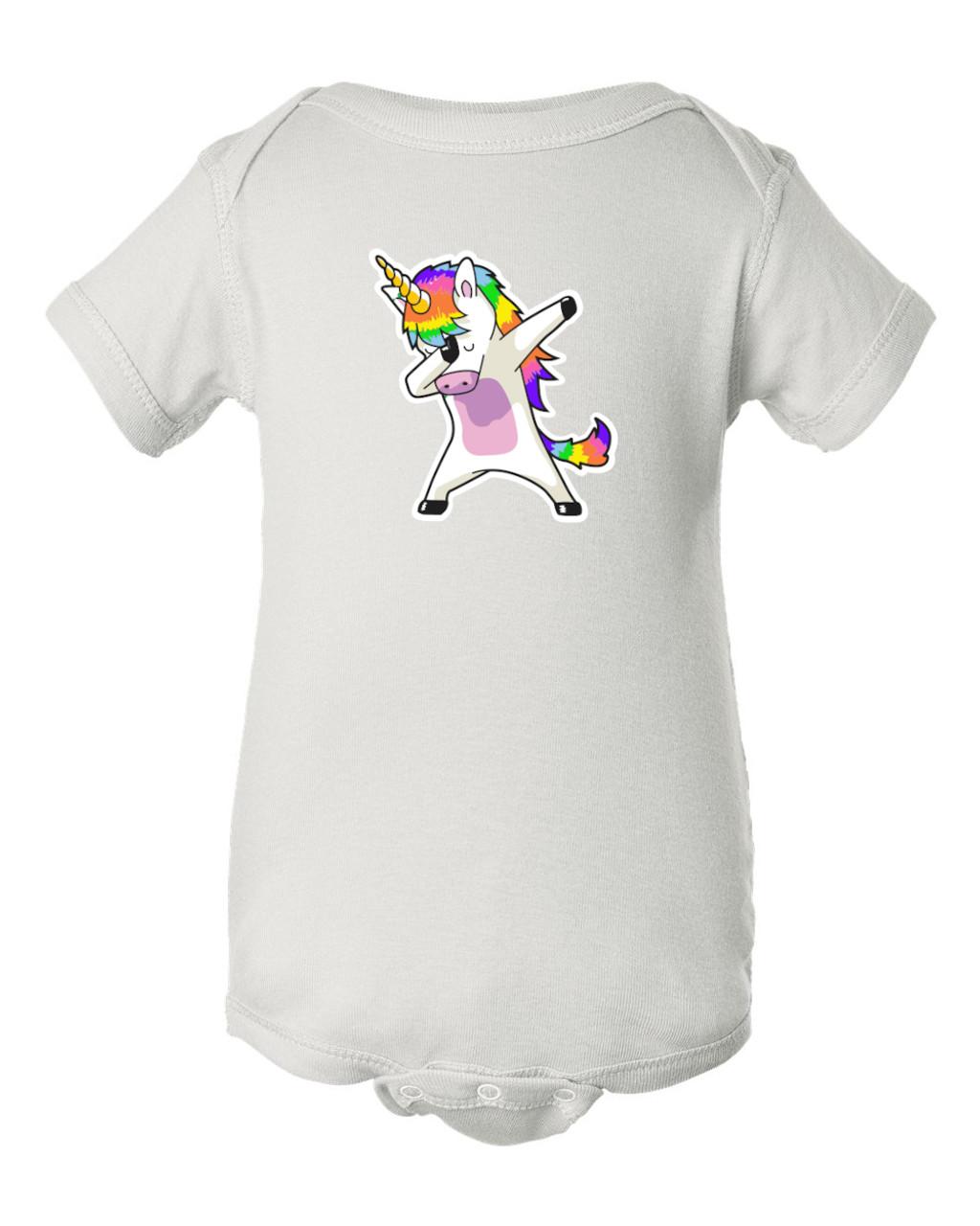 Unicorn Party Dancing Dabbing Baby Infant White Bodysuit