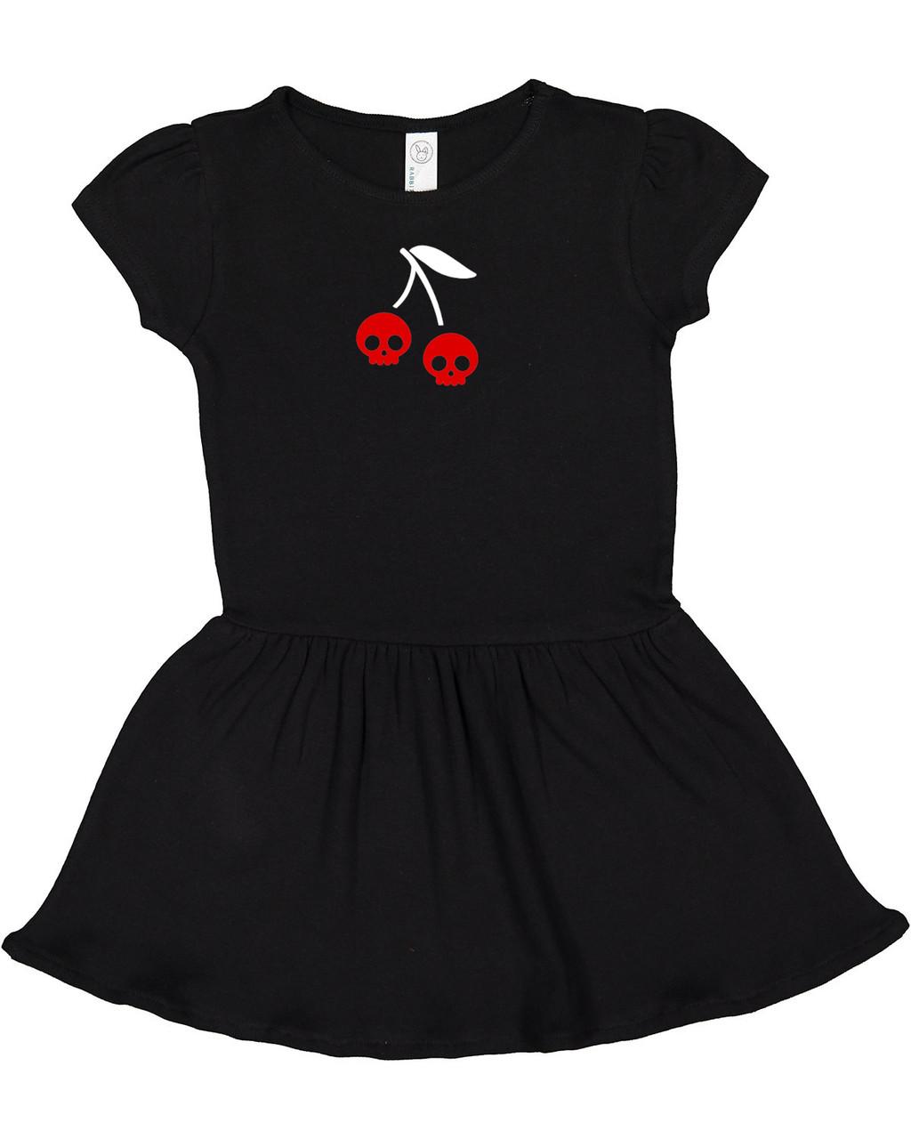 Punk Rock Cherry Skull Cotton Black Infant & Toddler Dress