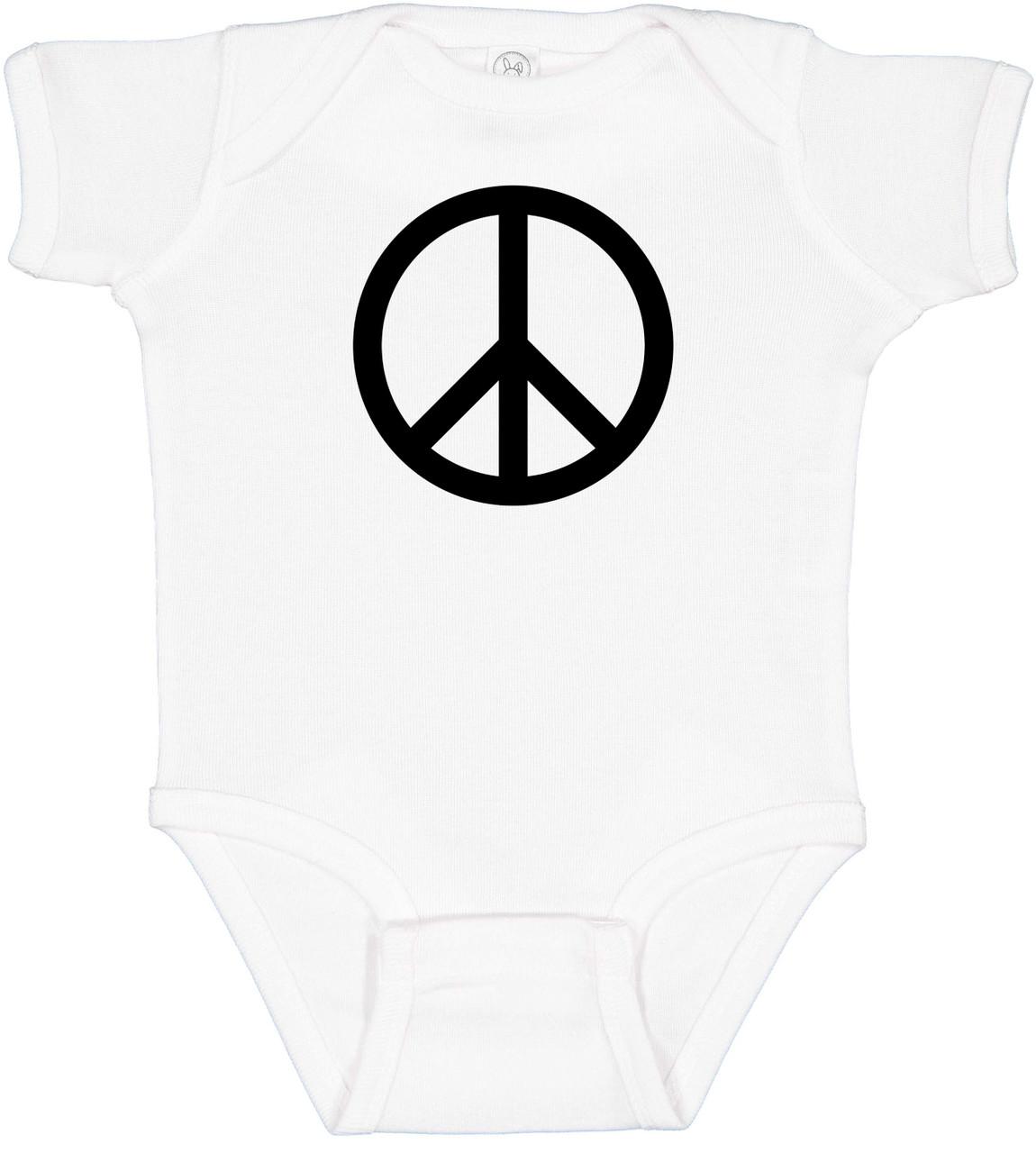 Peace Symbol Hippie 60s Baby Bodysuit Onesie White