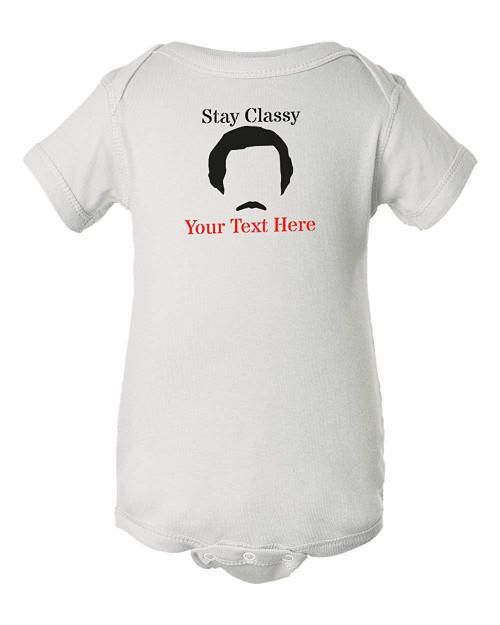 Ron Anchorman Burgundy Funny Baby Classy Custom Infant Bodysuit