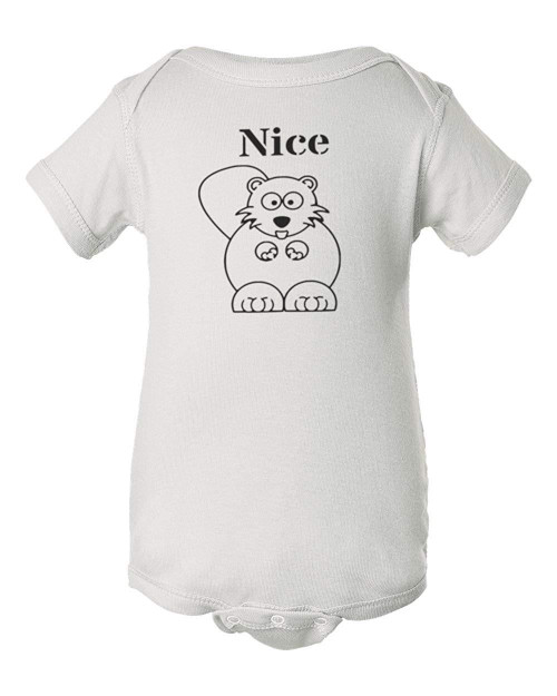 Nice Beaver Funny Baby Infant Comedy Jumpsuit Bodysuit white