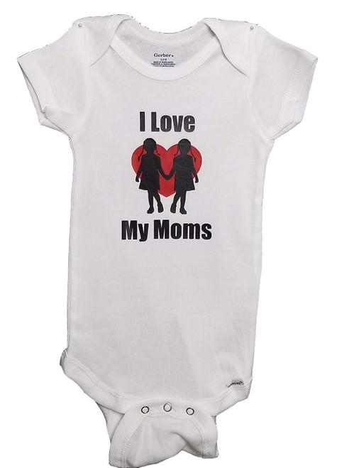 Love My 2 Moms Baby Infant Gay Parents Bodysuit Romper