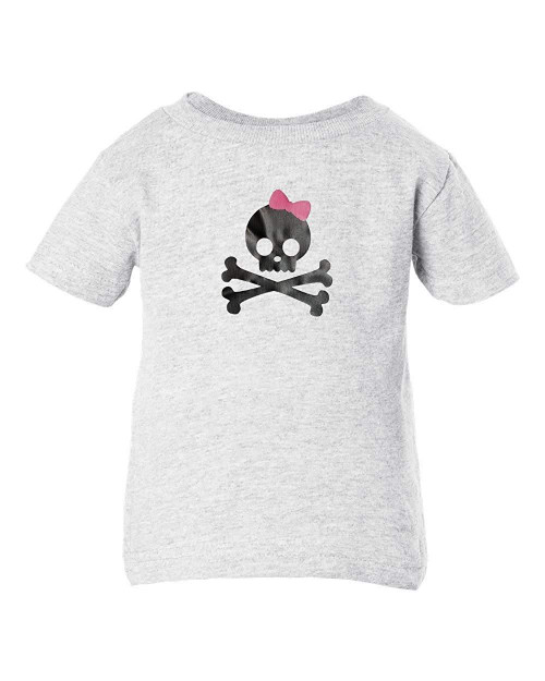 Pink Bow Skull & Cross Bones Punk Rock Baby Clothes Toddler T-Shirt Pullover