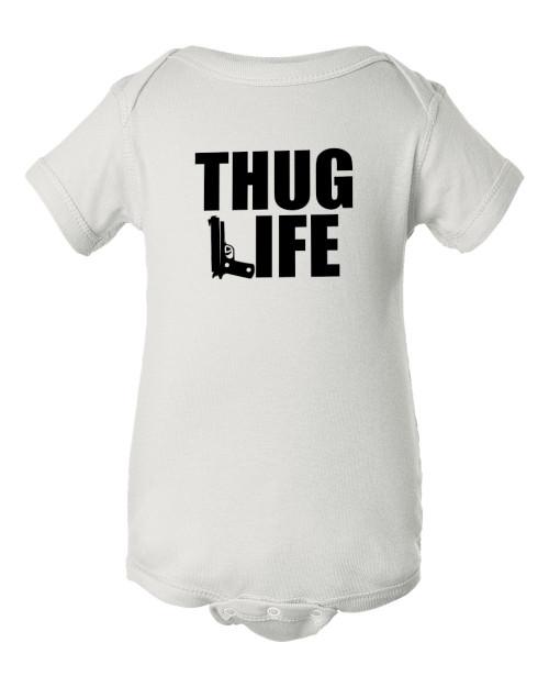 Original Thug Gangsta Life Hip Hop Baby Infant White Bodysuit