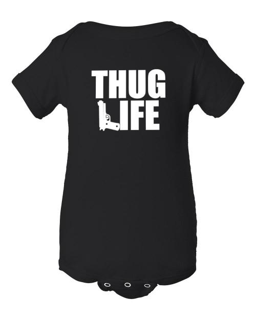 Original Thug Gangsta Life Hip Hop Baby Infant Black Bodysuit