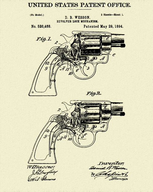 1894 Smith and Wesson Revolver Patent Print Dye Sublimation & Heat Infused Pressed Wall Art 8.5 Inches by 11 Inches