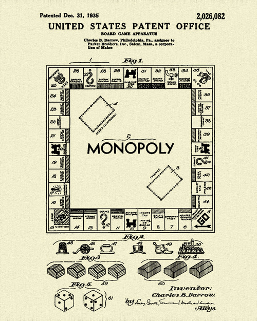 Monopoly Game Patent Print Dye Sublimation & Heat Infused Pressed Wall Art 8.5 Inches by 11 Inches