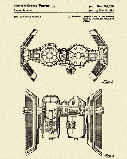 Star & Force Wars TIE Bomber Patent Print Dye Sublimation & Heat Infused Pressed Wall Art 8.5 Inches by 11 Inches