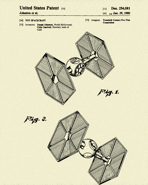 Star & Force Wars TIE Fighter Patent Print Dye Sublimation & Heat Infused Pressed Wall Art 8.5 Inches by 11 Inches