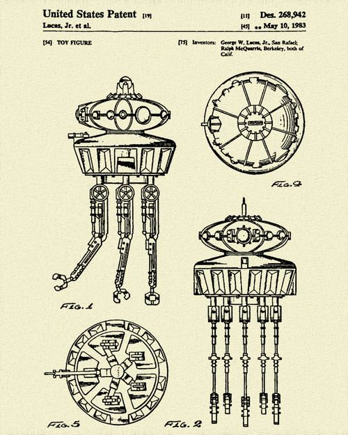 Star & Force Wars Viper Probe Droid Patent Print Dye Sublimation & Heat Infused Pressed Wall Art 8.5 Inches by 11 Inches