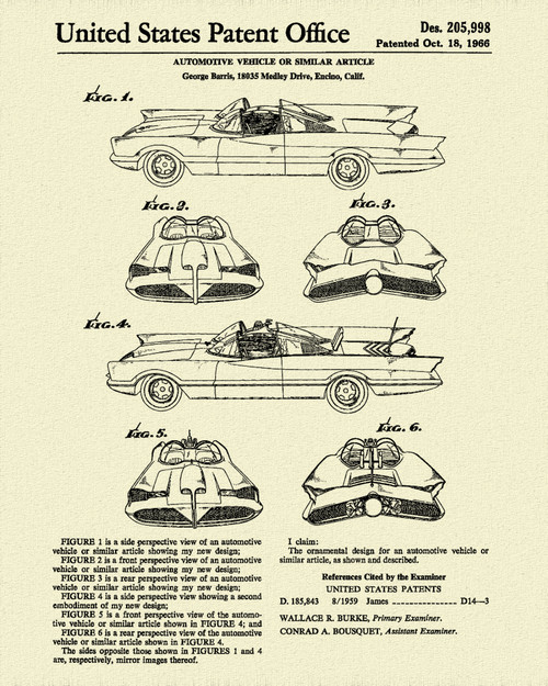 1966 Original Batmobile Design Patent Print Dye Sublimation & Heat Infused Pressed Wall Art 8.5 Inches by 11 Inches