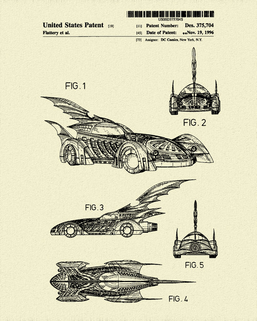 1996 Batmobile Poster Patent Print Dye Sublimation & Heat Infused Pressed Wall Art 8.5 Inches by 11 Inches