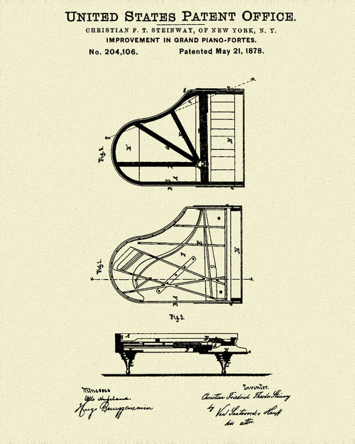 Steinway Piano Patent Print Dye Sublimation & Heat Infused Pressed Wall Art 8.5 Inches by 11 Inches