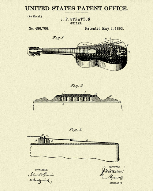 Stratton Acoustic Guitar Patent Print Dye Sublimation & Heat Infused Pressed Wall Art 8.5 Inches by 11 Inches