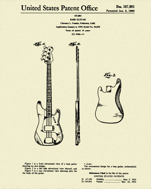 Fender Bass Guitar Patent Print Dye Sublimation & Heat Infused Pressed Wall Art 8.5 Inches by 11 Inches