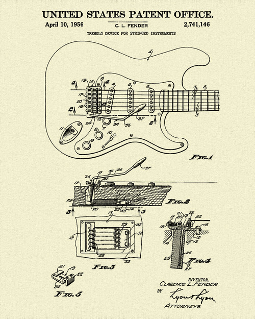 Fender Guitar Pick Up Patent Print Dye Sublimation & Heat Infused Pressed Wall Art 8.5 Inches by 11 Inches