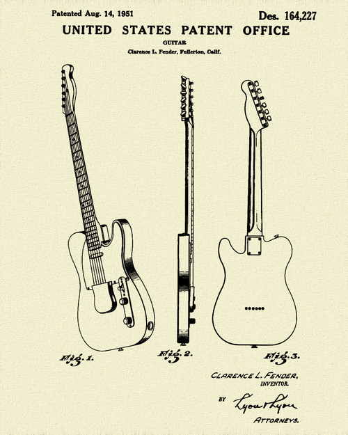 Fender Telecaster Guitar Patent Print Dye Sublimation & Heat Infused Pressed Wall Art 8.5 Inches by 11 Inches