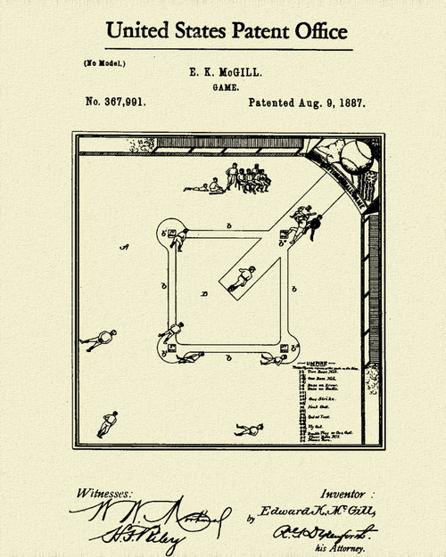 Baseball Game Patent Print Dye Sublimation & Heat Infused Pressed Wall Art 8.5 Inches by 11 Inches
