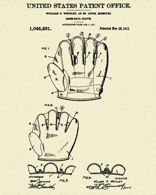 Baseball Glove Patent Print Dye Sublimation & Heat Infused Pressed Wall Art 8.5 Inches by 11 Inches