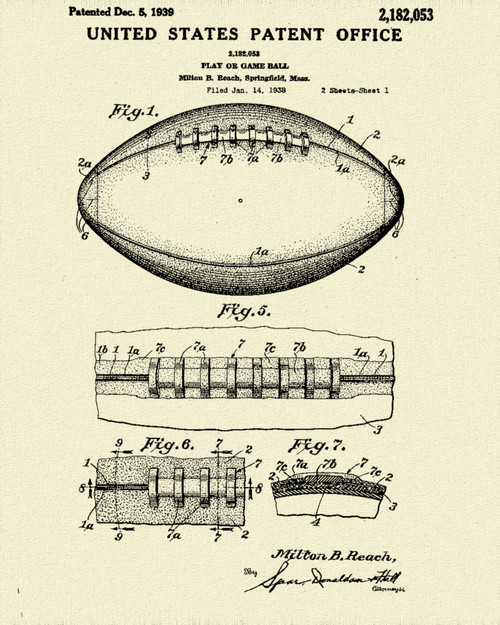Football Patent Print Dye Sublimation & Heat Infused Pressed Wall Art 8.5 Inches by 11 Inches