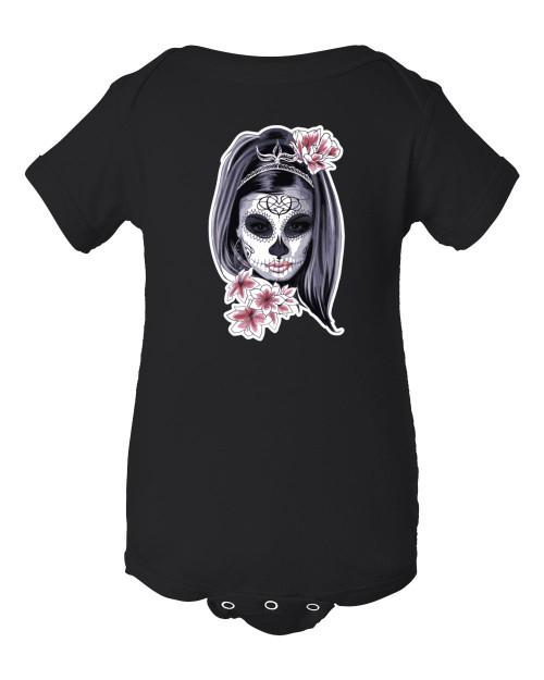 Catrina Muerte Day of the Dead Mexican Baby Bodysuit Onesie Black