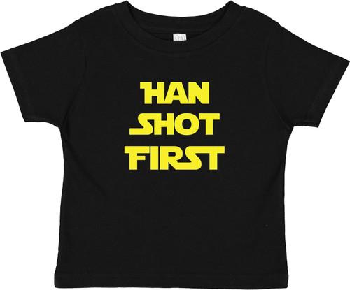 Han Shot First Star Force Baby Toddler Cotton T-Shirt Black