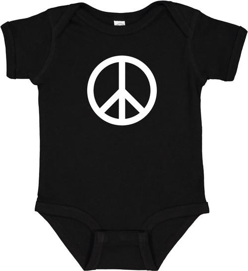 Peace Symbol Hippie 60s Baby Infant Bodysuit Onesie Black