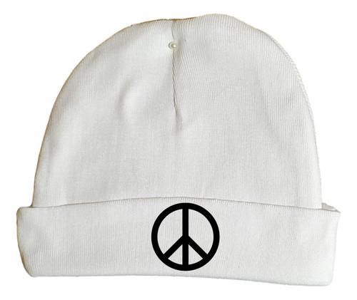 Peace Symbol Hippie 60s White Hat Infant Baby Beanie Cap