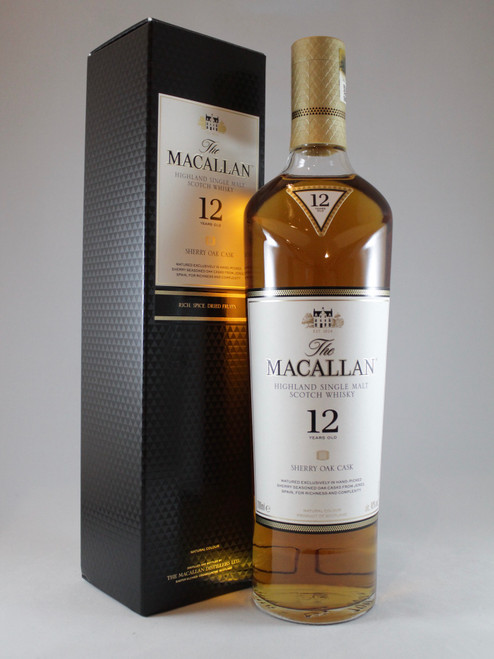 The Macallan, 12 Years Old, Sherry Oak Cask, Highland Single Malt Scotch Whisky, 700ml at 40% Vol. www.maltsandspirits.com/the-macallan-12-sherry