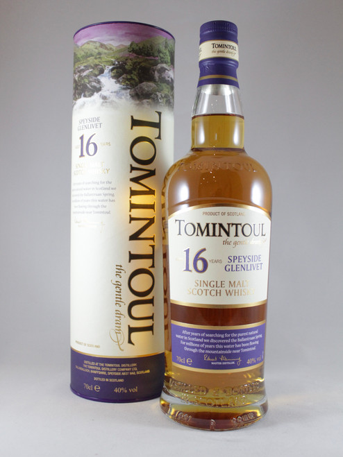 Tomintoul, 16 Year Old, Speyside Single Malt Scotch Whisky, 70cl at 40% alc./vol. www.maltsandspirits.com/tomintoul-16