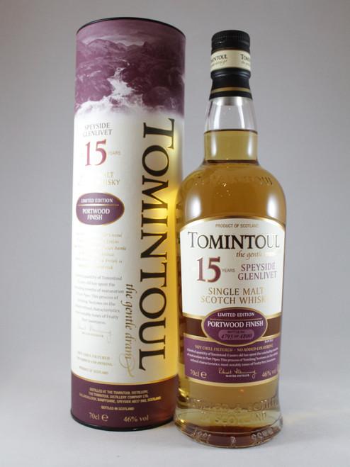 Tomintoul, 15 Year Old, Portwood Finish, Limited Edition Bottling, Speyside Single Malt Scotch Whisky,  70cl at 46% alc. /vol.  www.maltsandspirits.com/tomintoul-15-portwood