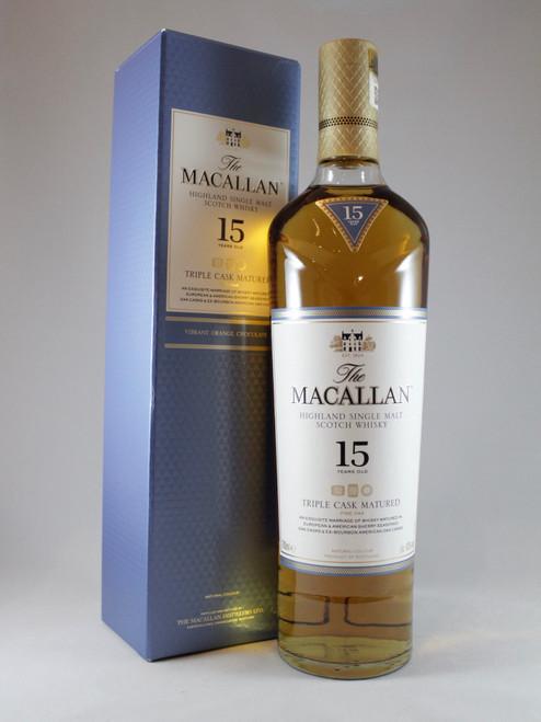 The Macallan, Fine Oak 15 Years Old, Triple Cask Matured,  Highland Single Malt Scotch Whisky, 700ml at 43% alc./vol.  www.maltsandspirits.com/macallan-fine-oak-15