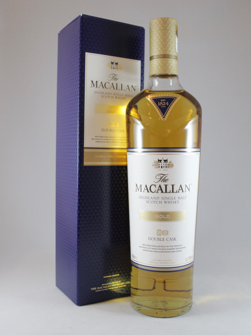 The Macallan, Gold Double Cask, Highland Single Malt Scotch Whisky,  700ml at 40% alc./vol.  www.maltsandspirits.com/the-macallan-gold