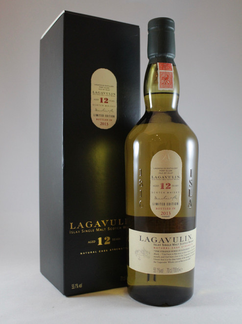 Lagavulin, Aged 12 Years, (2013 Edition) Limited Edition, Natural Cask Strength, Islay Single Malt Scotch Whisky, 70cl at 55.1% alc./vol.  www.maltsandspirits.com/lagavulin-aged-12-years