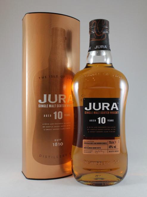 Jura Aged 10 Years, Single Malt Scotch Whisky, 70cl at 40% alc./vol.  www.maltsandspirits.com/