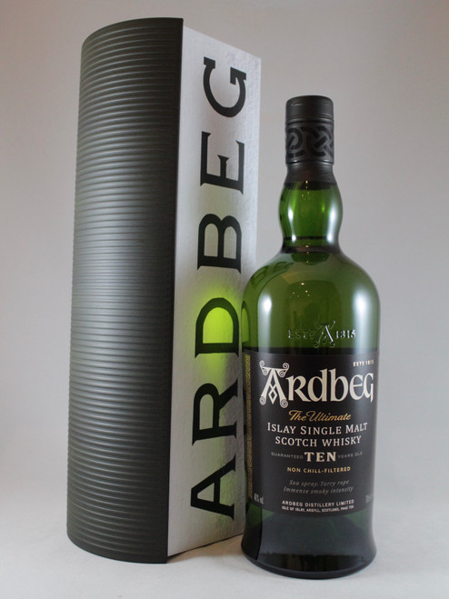 Ardbeg, 10 Years Old, Warehouse Pack, Islay Single Malt Scotch Whisky, 70cl at 46% alc./vol. Non chill-filtered.   www.maltsandspirits.com/