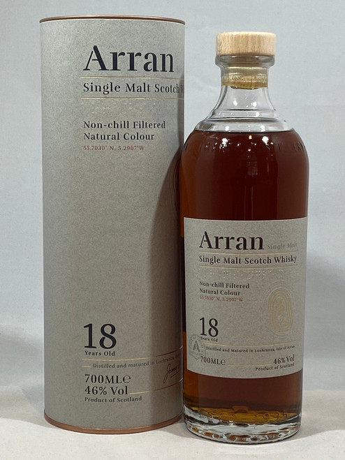 Arran 18 Year Old, Single Malt Scotch Whisky, 700ml at 46% alc./vol. www.maltsandspirits.com/arran-18