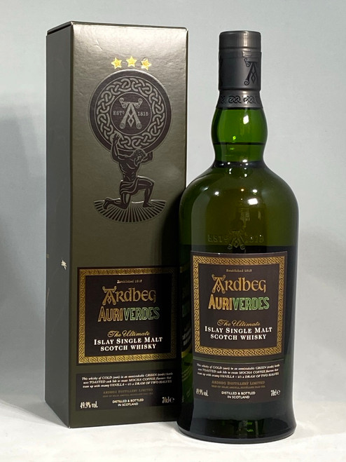 Ardbeg Auriverdes 2014 Release , Islay Single Malt Scotch Whisky, 70cl at 49.9% alc./vol, Non chill-filtered, https://www.maltsandspirits.com/ardbeg-auriverdes