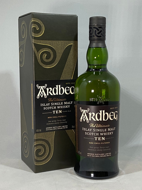 Ardbeg, Guaranteed Years Old, Islay Single Malt Scotch Whisky, 70cl at 46% alc./vol. Non chill-filtered.   www.maltsandspirits.com/ardbeg-10