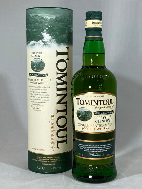 Tomintoul with a Peaty Tang, Single Malt Scotch Whisky, 70cl at 40% alc. /vol.  www.maltsandspirits.com/tomintoul-peaty