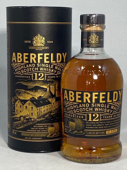 Aberfeldy 12 Year Old, Highland Single Malt Scotch Whisky, 700ml at 40% alc./vol.  www.maltsandspirits.com/aberfeldy-12-year-old