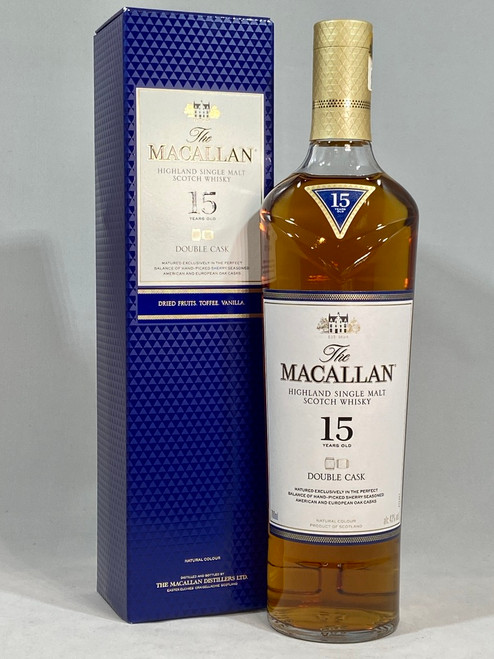 The Macallan, 15 Years Old, Double Cask, Highland Single Malt Scotch Whisky, 700ml at 43% alc./vol.  www.maltsandspirits.com/the-macallan-15-double-cask