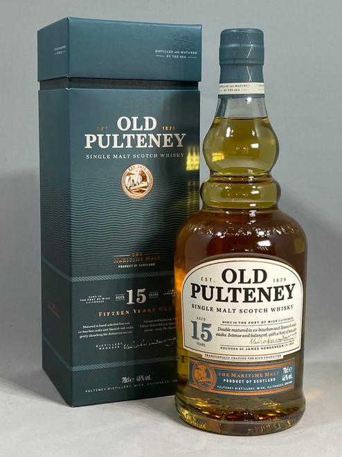Old Pulteney 15 Year Old, Highland Single Malt Scotch Whisky,  70cl at 46% alc./vol.  www.maltsandspirits.com/old-pulteney-15