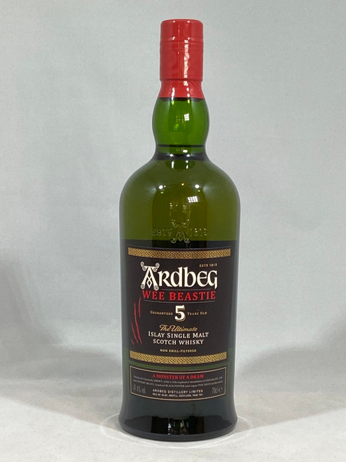 Ardbeg Wee Beastie, 5 years Old,  Islay Single Malt Scotch Whisky, 70cl at 47.4 % alc./vol. Non chill-filtered.   www.maltsandspirits.com/ardbeg-wee-beastie-5