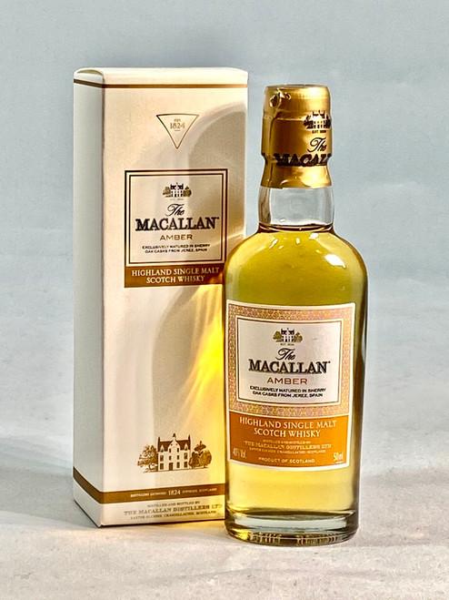 The Macallan Amber Miniature,  Highland Single Malt Scotch Whisky, 5cl at 40% alc./vol.  www.maltsandspirits.com/macallan-amber-mini