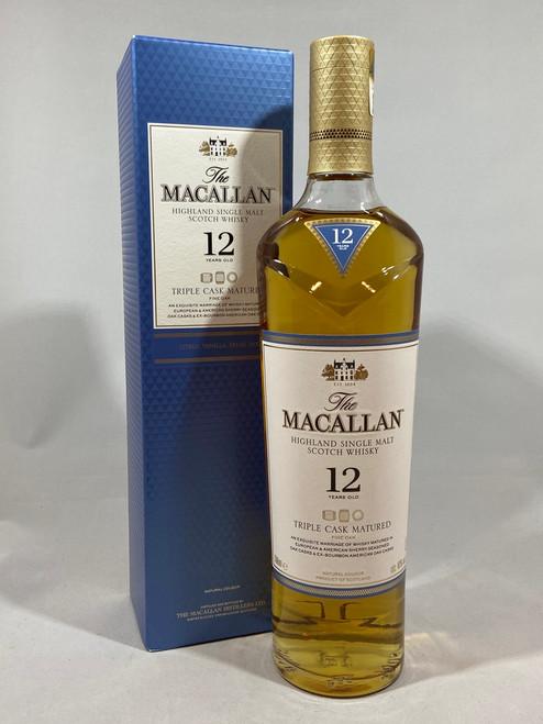 The Macallan 12 Years Old Triple Cask Matured, Highland Single Malt Scotch Whisky, 700ml at 40% alc./vol.  www.maltsandspirits.com/macallan-12-triple
