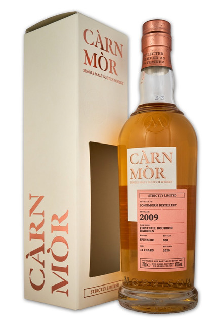 Longmorn 11 Year Old (2009), First Fill Bourbon Barrels. Càrn Mòr Strictly Limited Edition.